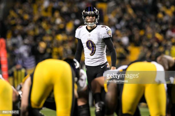 Baltimore Ravens Kicker Justin Tucker eyes up a field goal attempt during the game between the Baltimore Ravens and the Pittsburgh Steelers on...
