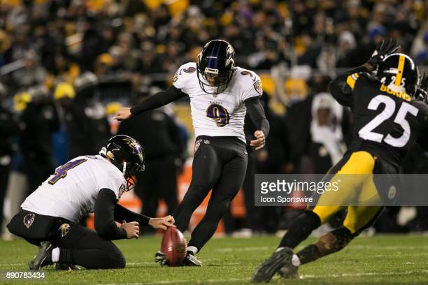 Baltimore Ravens Kicker Justin Tucker kicks an extra point during the game between the Baltimore Ravens and the Pittsburgh Steelers on December 10...
