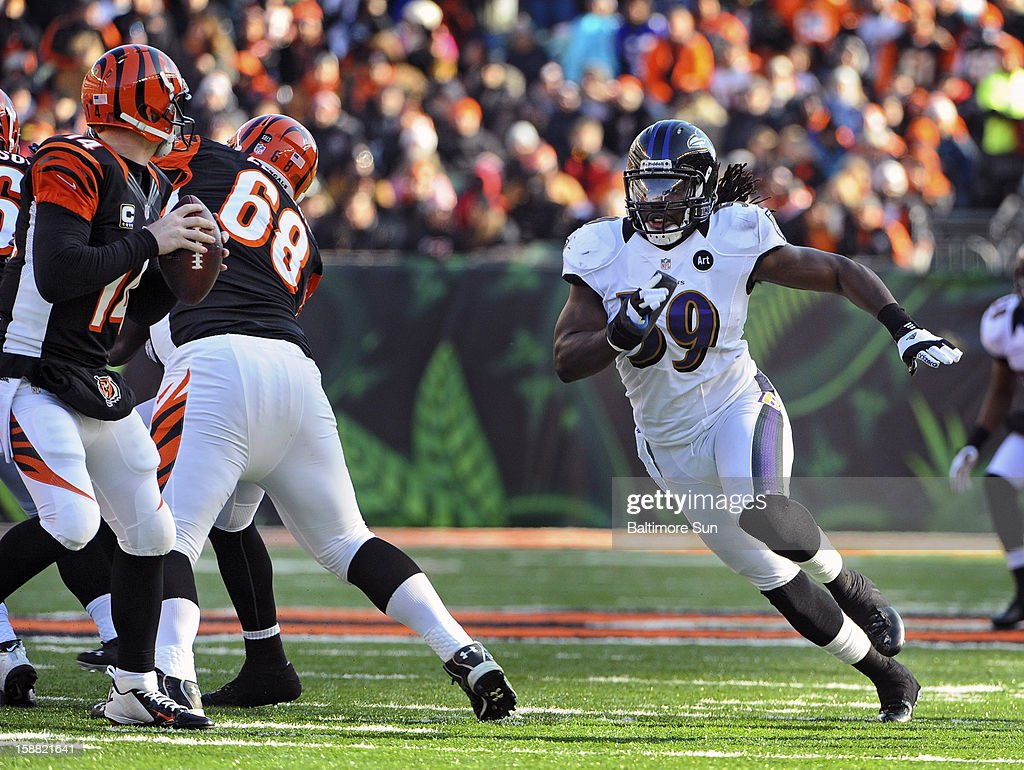 Baltimore Ravens linebacker Dannell Ellerbe, right, blitzes Cincinnati Bengals quarterback Andy Dalton, left, in the second quarter at Paul Brown Stadium on Sunday, December 30, 2012, in Cleveland, Ohio. The Cincinnati Bengals defeated the Baltimore Ravens, 23-17.