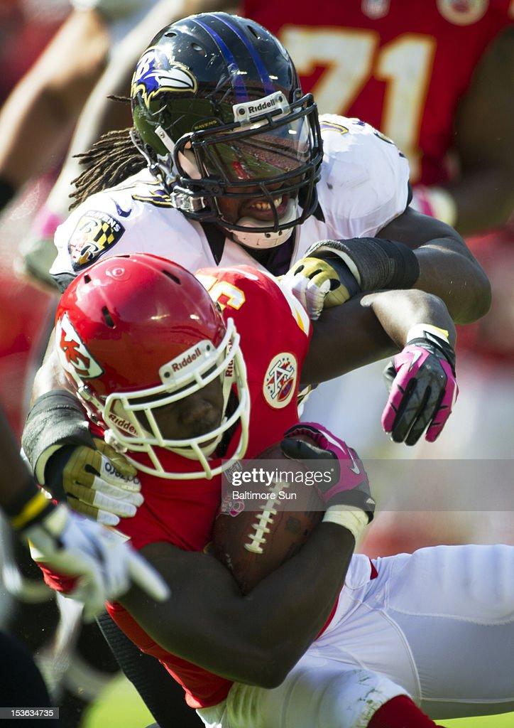 Baltimore Ravens linebacker Dannell Ellerbe (59) tackles Kansas City Chiefs running back Cyrus Gray (32) after a 12-yard gain on Sunday, October 7, 2012 at Arrowhead Stadium in Kansas City, Missouri. Ravens won 9-6.