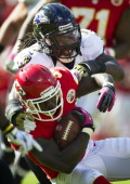 Baltimore Ravens linebacker Dannell Ellerbe tackles Kansas City Chiefs running back Cyrus Gray after a 12yard gain on Sunday October 7 2012 at...