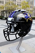 Baltimore Ravens NFL football helmet is on display in Pioneer Court to commemorate the NFL Draft 2015 in Chicago on April 30 2015 in Chicago Illinois