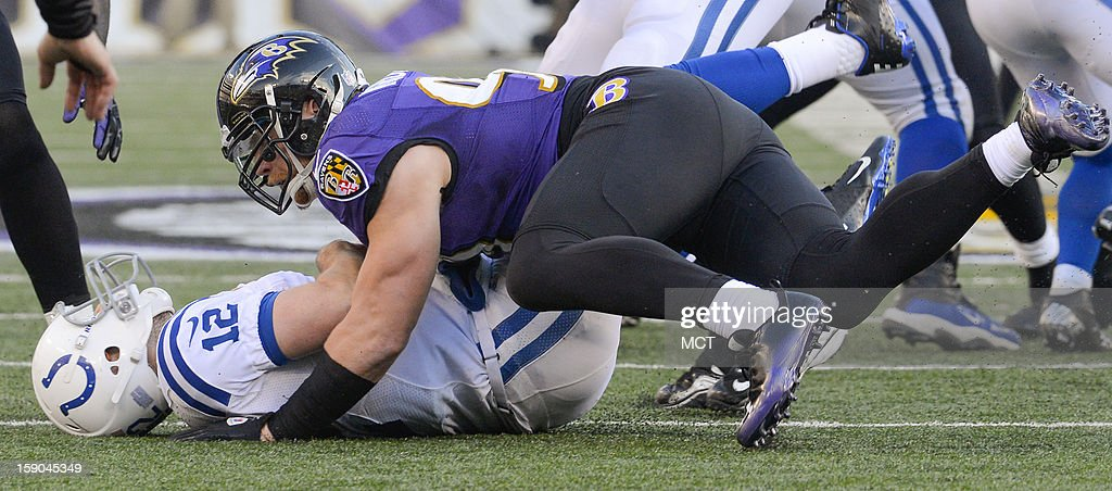 Baltimore Ravens outside linebacker Paul Kruger sacks Indianapolis Colts quarterback Andrew Luck during the second half of their AFC playoff game in Baltimore, Maryland, on Sunday, January 6, 2013.