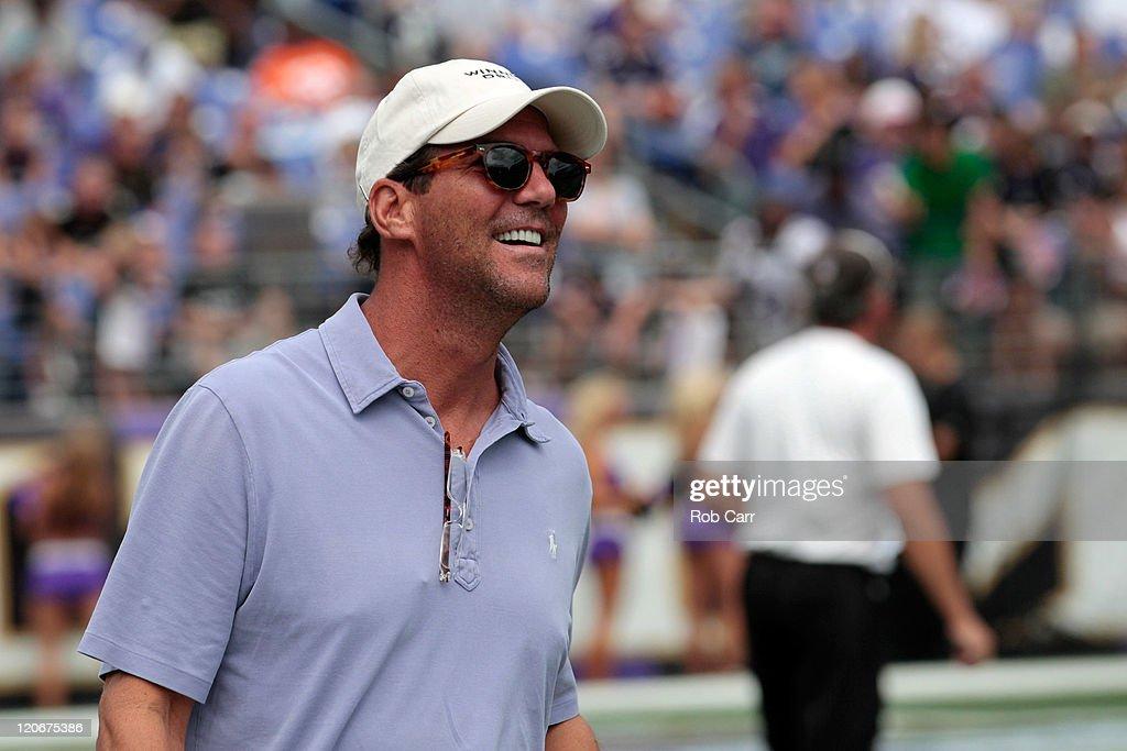 Baltimore Ravens owner Steve Bisciott smiles during training camp at M&T Bank Stadium on August 6, 2011 in Baltimore, Maryland.