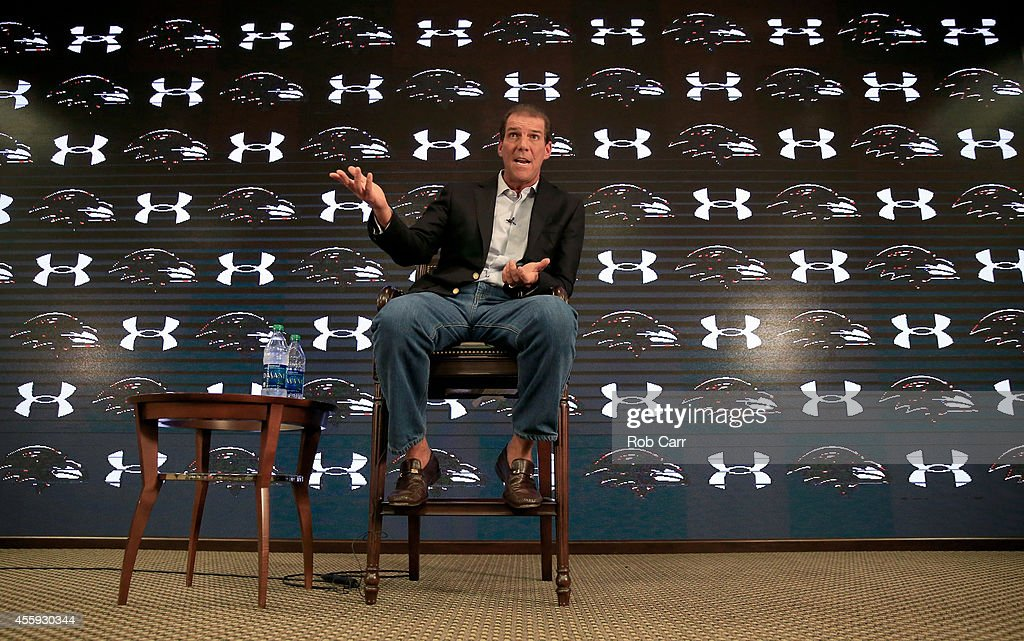 Baltimore Ravens owner <a gi-track='captionPersonalityLinkClicked' href=/galleries/search?phrase=Steve+Bisciotti&family=editorial&specificpeople=3079316 ng-click='$event.stopPropagation()'>Steve Bisciotti</a> addresses the media during a news conference at the team's practice facility concerning the recent controversy surrounding former player Ray Rice on September 22, 2014 in Owings Mills, Maryland.