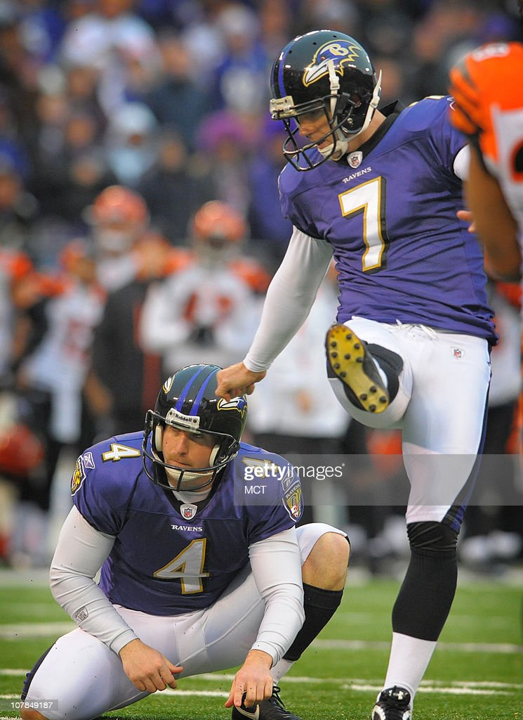 Baltimore Ravens place kicker Billy Cundiff tallies his second field goal of the day during the second half as punter Sam Koch holds. The Ravens defeat Cincinnati 13-7 on Sunday, January 2, 2011, at M&T Bank Stadium in Baltimore, Maryland.