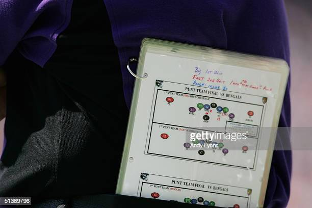 Baltimore Ravens playbook during the game against the Cincinnati Bengals at Paul Brown Stadium on September 26 2004 in Cincinnati Ohio The Ravens...