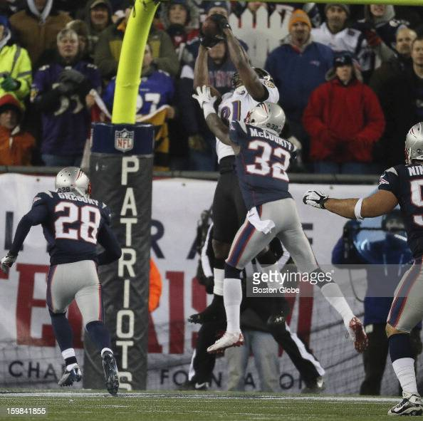 Baltimore Ravens player Anquan Boldin beats the New England Patriots' Devin McCourty for a touchdown as the New England Patriots hosted the Baltimore...