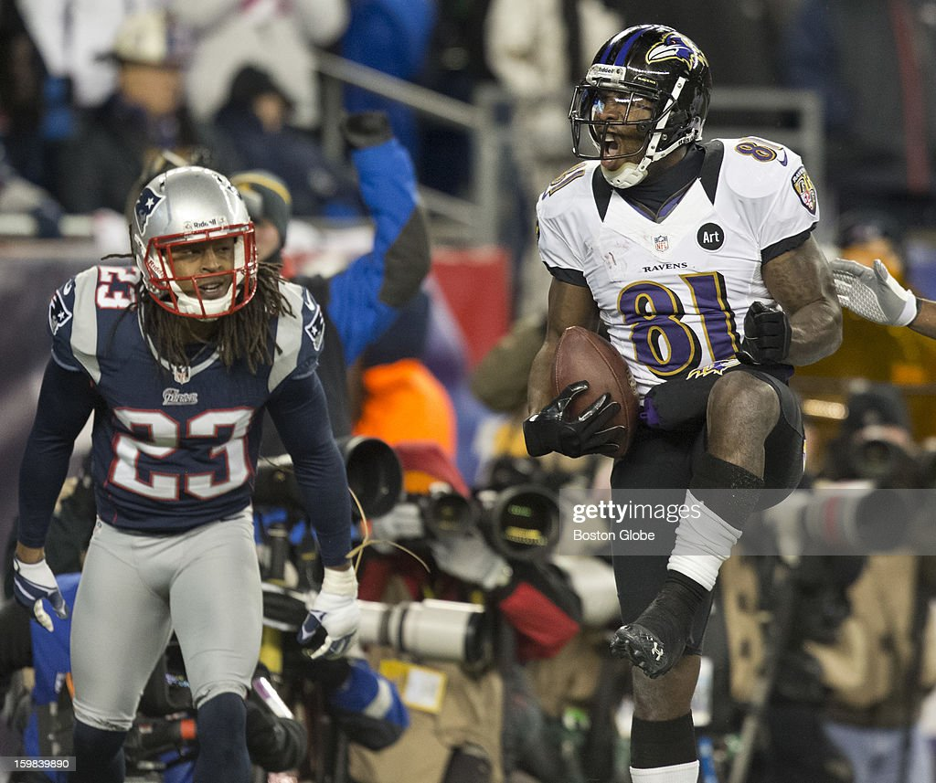 Baltimore Ravens player Anquan Boldin celebrates his second touchdown reception of the fourth quarter beating the New England Patriots' Marquice Cole during the AFC Championship Game at Gillette Stadium on Sunday, Jan. 20, 2013.