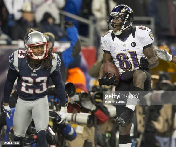 Baltimore Ravens player Anquan Boldin celebrates his second touchdown reception of the fourth quarter beating the New England Patriots' Marquice Cole...
