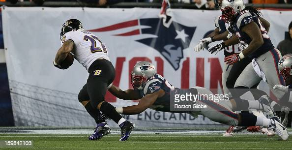 Baltimore Ravens player Ray Rice runs for a touchdown against New England as the New England Patriots hosted the Baltimore Ravens in the AFC...