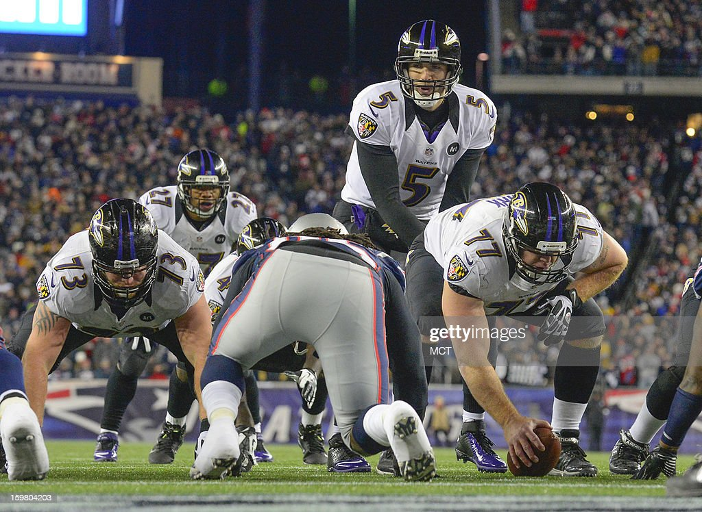 Baltimore Ravens quarterback Joe Flacco brings his team to the line within feet of the end zone during the first half of the AFC Championship game at Gillette Stadium in Foxboro, Massachusetts, Sunday night, January 20, 2013.