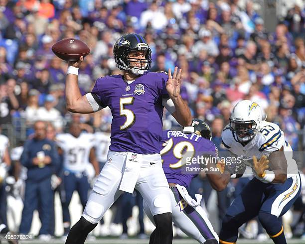 Baltimore Ravens quarterback Joe Flacco completes a pass to Nick Boyle during the first quarter on Sunday Nov 1 at MT Bank Stadium in Baltimore