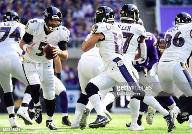Baltimore Ravens quarterback Joe Flacco looks to hand the ball off during a NFL game between the Minnesota Vikings and Baltimore Ravens on October 22...