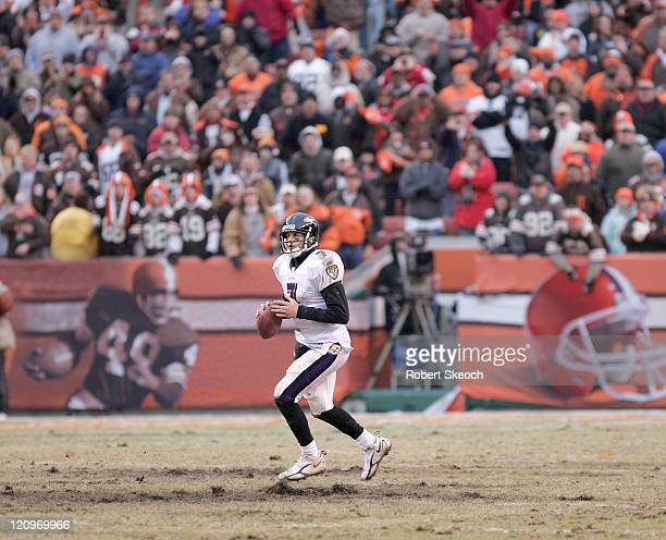 Baltimore Ravens quarterback Kyle Boller is alone in the backfield looking for an open receiver during the game against the Cleveland Browns at...