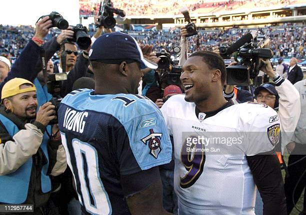 Baltimore Ravens quarterback Steve McNair greets Tennessee Titans quarterback Vince Young after the game at LP Field in Nashville Tennessee Sunday...