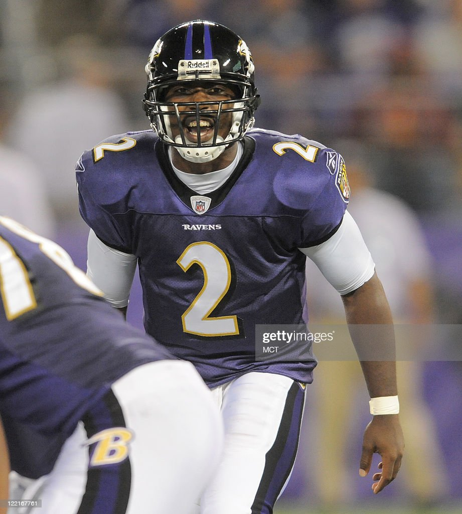 Baltimore Ravens quarterback Tyrod Taylor changes the play at the line in the second half. The Baltimore Ravens defeat the Washington Redskins 34-31 in their preseason game on Thursday, August 25, 2011, in Baltimore, Maryland.