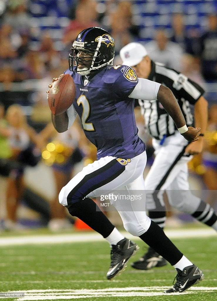 Baltimore Ravens quarterback <a gi-track='captionPersonalityLinkClicked' href=/galleries/search?phrase=Tyrod+Taylor&family=editorial&specificpeople=4489709 ng-click='$event.stopPropagation()'>Tyrod Taylor</a> runs for daylight in the fourth quarter. The Baltimore Ravens defeat the Washington Redskins 34-31 in their preseason game on Thursday, August 25, 2011, in Baltimore, Maryland.