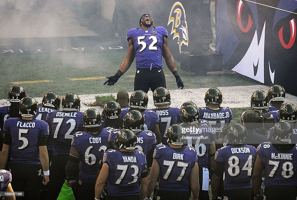 Baltimore Ravens' Ray Lewis performs his pregame ritual before an AFC wild-card playoff game against the Indianapolis Colts at M&T Stadium in Baltimore, Maryland, on Sunday, January 6, 2013. Lewis announced his retirement early this week.