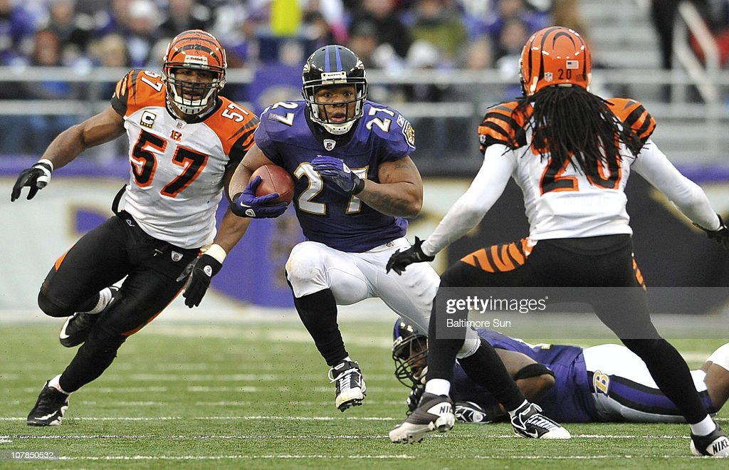Baltimore Ravens' <a gi-track='captionPersonalityLinkClicked' href=/galleries/search?phrase=Ray+Rice&family=editorial&specificpeople=3980395 ng-click='$event.stopPropagation()'>Ray Rice</a> duns for yardage during the third quarter against the Cincinnati Bengals. The Ravens defeated the Bengals, 13-7, on Sunday, January 2, 2011, at M&T Bank Stadium in Baltimore, Maryland.