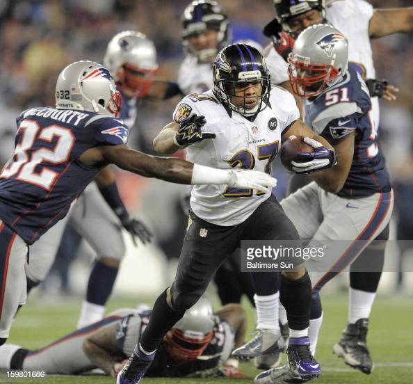 Baltimore Ravens' Ray Rice scores a secondquarter touchdown against the New England Patriots during the AFC Championship game at Gillette Stadium on...
