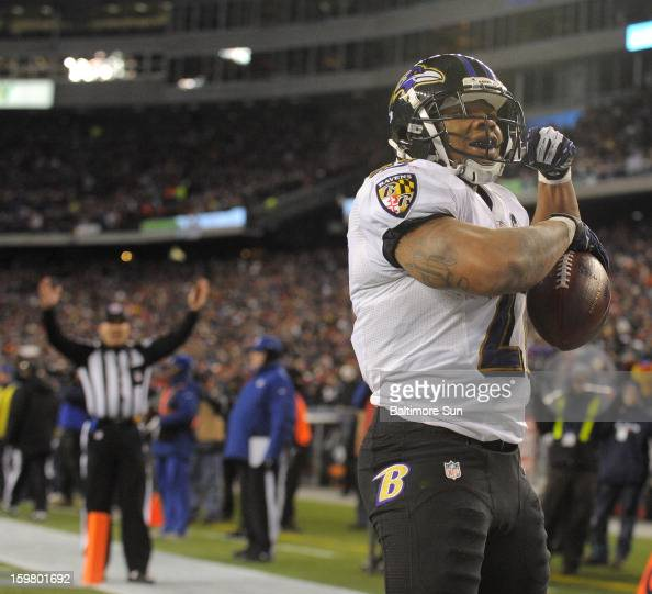 Baltimore Ravens Ray Rice scores a secondquarter touchdown against the New England Patriots in the AFC Championship game at Gillette Stadium on...