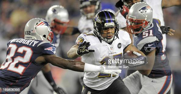 Baltimore Ravens' Ray Rice scores a secondquarter touchdown against the New England Patriots in the AFC Championship game at Gillette Stadium on...