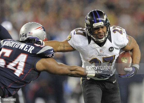 Baltimore Ravens Ray Rice scores a touchdown against New England Patriots Dont'a Hightower during the AFC Championship game at Gillette Stadium on...
