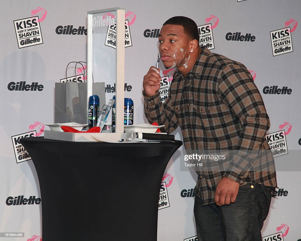 Baltimore Ravens running back <a gi-track='captionPersonalityLinkClicked' href=/galleries/search?phrase=Ray+Rice&family=editorial&specificpeople=3980395 ng-click='$event.stopPropagation()'>Ray Rice</a> attends Gillette's Largest Shave & Kiss Valentine's Day Event at The Shops at Columbus Circle on February 14, 2013 in New York City.