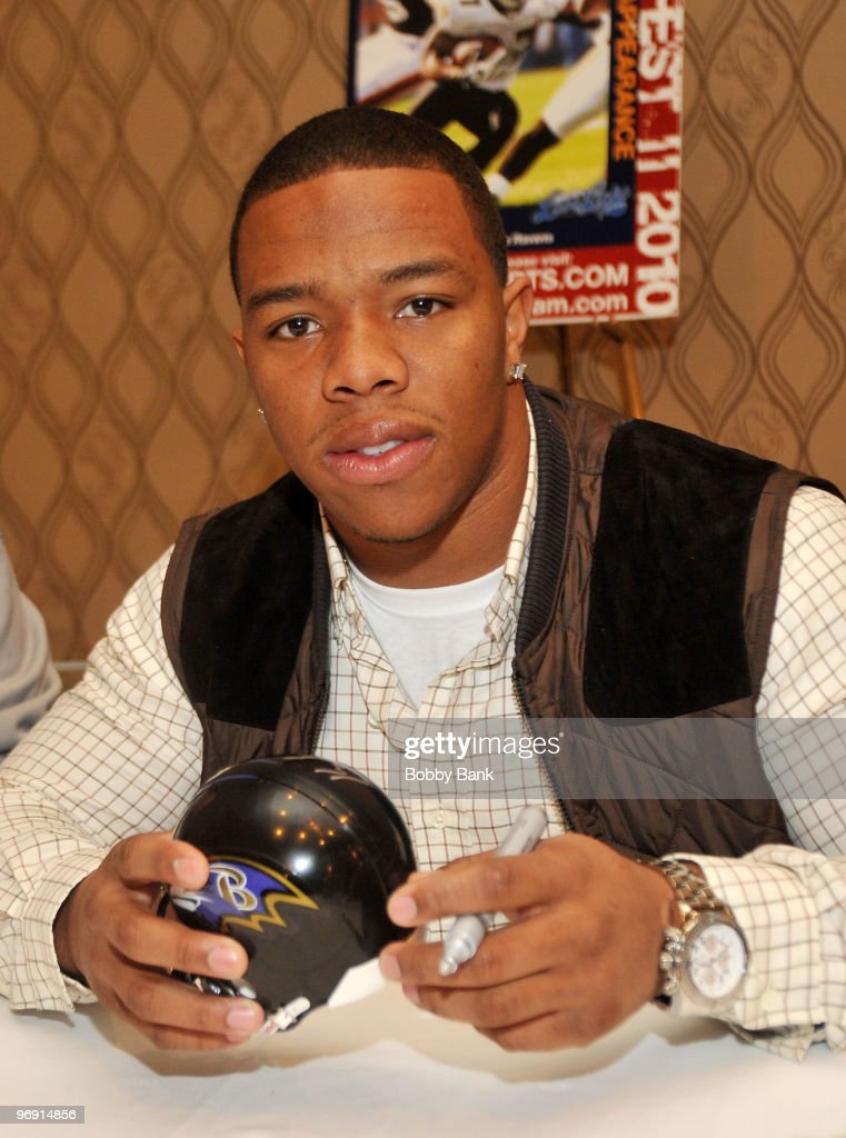 Baltimore Ravens running back <a gi-track='captionPersonalityLinkClicked' href=/galleries/search?phrase=Ray+Rice&family=editorial&specificpeople=3980395 ng-click='$event.stopPropagation()'>Ray Rice</a> attends the Steinfest II Champions Show at the Rye Town Hilton on February 20, 2010 in Rye Brook, New York.