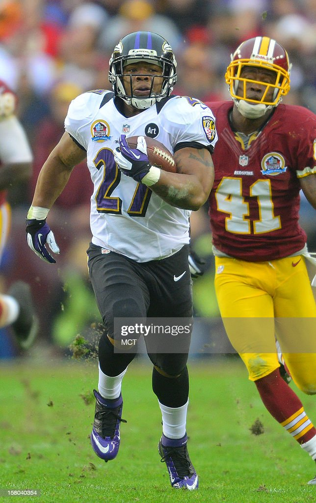 Baltimore Ravens running back Ray Rice breaks off a long run against the Redskins during the first half of their game in Landover, Maryland, on Sunday, December 9, 2012. Washington takes a 31-28 win over Baltimore in overtime.