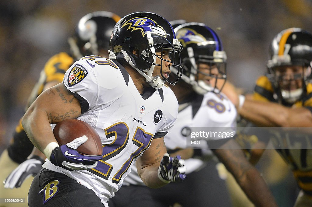 Baltimore Ravens running back Ray Rice run for first down yardage in the first half of their game with the Steelers on Sunday, November 18, 2012, in Pittsburgh, Pennsylvania.