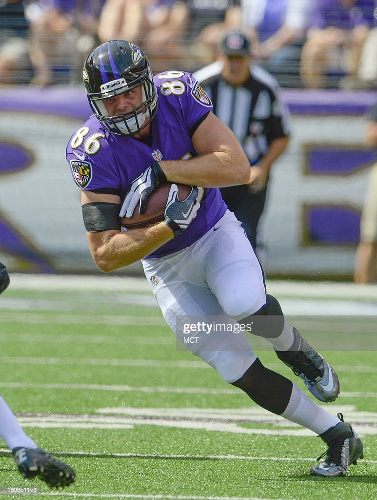 Baltimore Ravens tight end Billy Bajema makes a first down and more on a reception against the Cleveland Browns during the second half of their game on Sunday, September 15, 2013, in Baltimore, Maryland.