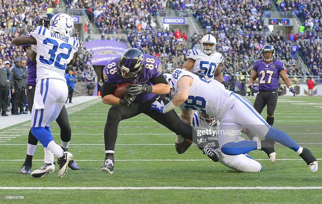 Baltimore Ravens tight end Dennis Pitta makes it to the end zone for a touchdown after a reception and despite the defensive efforts of Indianapolis Colts strong safety Tom Zbikowski during the second half of their AFC playoff game in Baltimore, Maryland, on Sunday, January 6, 2013.