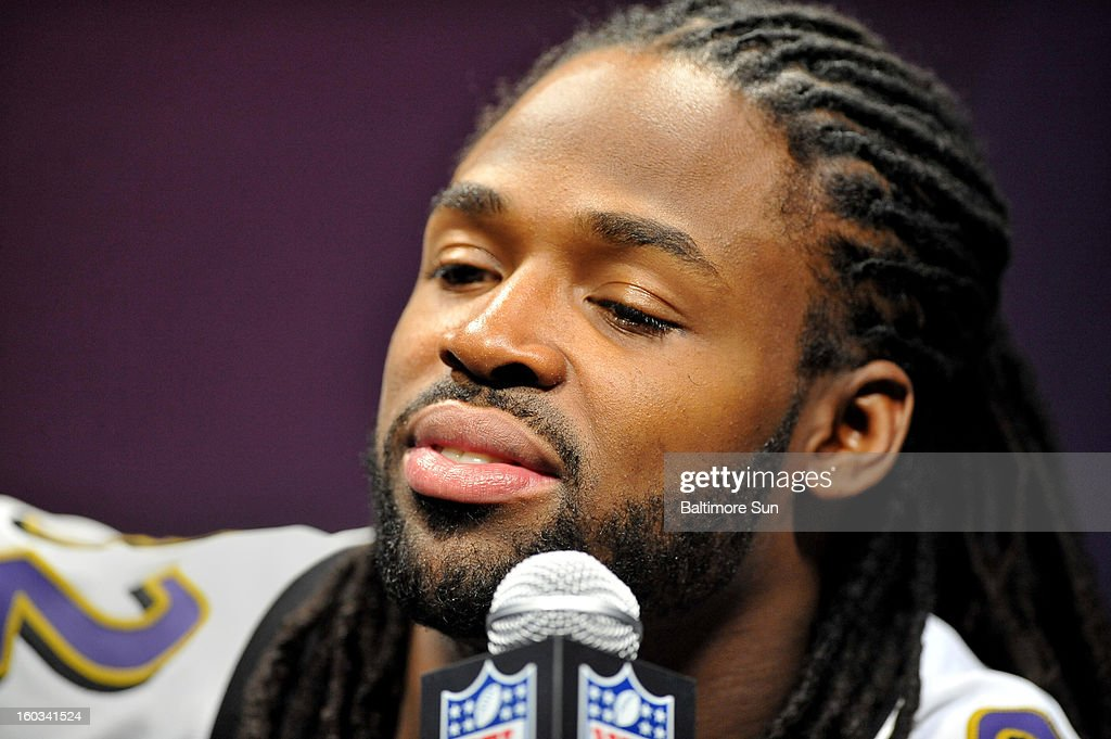 Baltimore Ravens' Torrey Smith takes the podium to answer questions during the Ravens portion of Media Day at the Mercedes Benz Super Dome in New Orleans, Louisiana, Tuesday, January 29, 2013.
