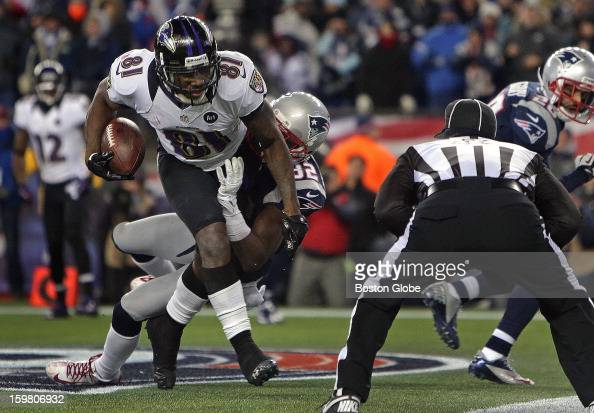 Baltimore Ravens wide receiver Anquan Boldin beats New England Patriots free safety Devin McCourty as he takes to the air for a touchdown in the...