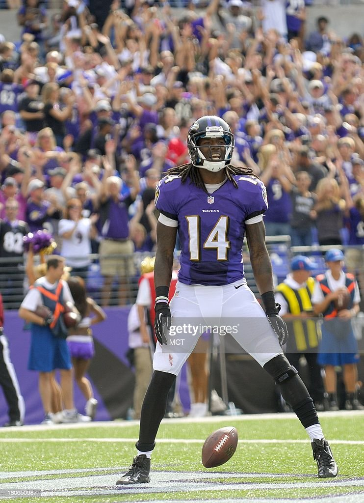 Baltimore Ravens wide receiver Marlon Brown celebrates his touchdown against the Cleveland Browns during the second half of their game on Sunday, September 15, 2013, in Baltimore, Maryland.