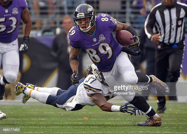 Baltimore Ravens wide receiver Steve Smith gets beyond San Diego Chargers safety Jahleel Addae on a play in which he was seriously injured having to...