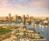 Baltimore Skyline and Inner Harbor with Sail Boats