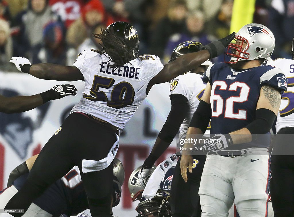 Baltimore's Dannelle Ellerbe slaps the Patriots' Ryan Wendell in the helmet in first quarter as the New England Patriots hosted the Baltimore Ravens in the AFC Championship Game at Gillette Stadium.