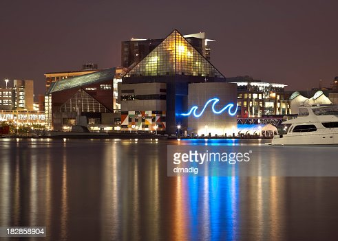 Baltimore's Inner Harbor and National Aquarium Lit at Night