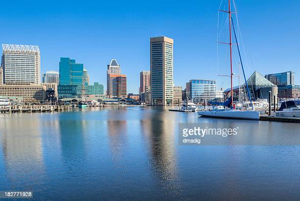 Baltimore's Inner Harbor Buildings and Sailboat With Clear Blue Sky
