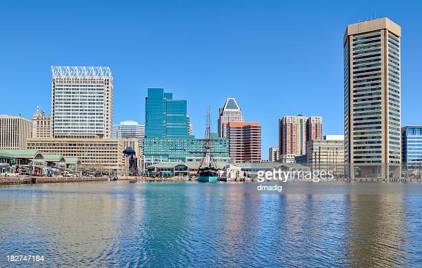 Baltimore's Inner Harbor Buildings Reflecting in Water Under Blue Sky