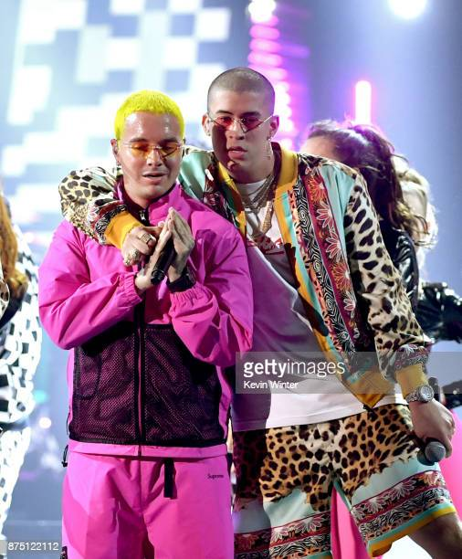 Balvin and Bad Bunny perform onstage at the 18th Annual Latin Grammy Awards at MGM Grand Garden Arena on November 16 2017 in Las Vegas Nevada