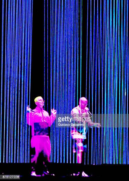 Balvin and Bad Bunny perform onstage during The 18th Annual Latin Grammy Awards at MGM Grand Garden Arena on November 16 2017 in Las Vegas Nevada