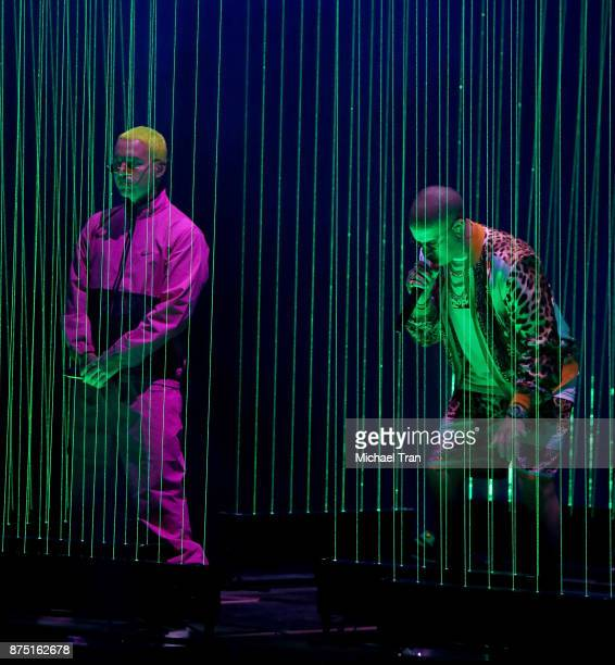 Balvin and Bad Bunny perform onstage during the 18th Annual Latin Grammy Awards held at MGM Grand Garden Arena on November 16 2017 in Las Vegas Nevada