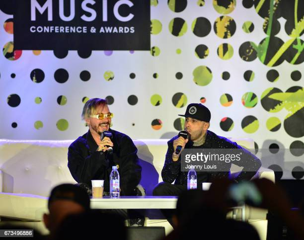 Balvin and Nicky Jam during The Billboard Latin Music Conference Awards THE BILLBOARD SUPERSTAR MANO A MANO panel at Ritz Carlton South Beach on...