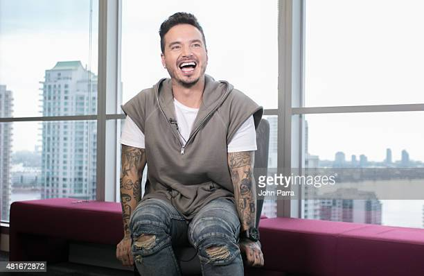 J Balvin announces Telemundo's Premios Tu Mundo Awards nominations Live on FACEBOOK at the Facebook office on July 23 2015 in Miami Florida