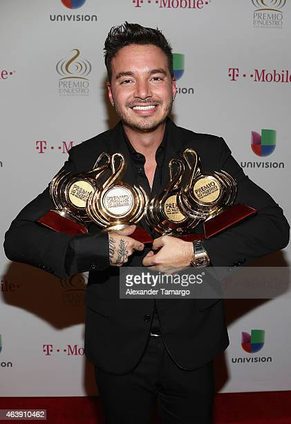 Balvin attends the 2015 Premios Lo Nuestros Awards at American Airlines Arena on February 19 2015 in Miami Florida