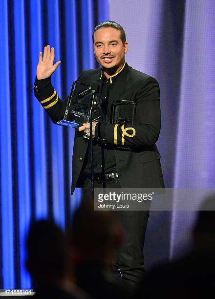 Balvin onstage accepting award during the 2015 Billboard Latin Music Awards presented by State Farm on Telemundo at Bank United Center on April 30...
